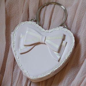 Cute heart shaped pinkish purple bow lolita bag